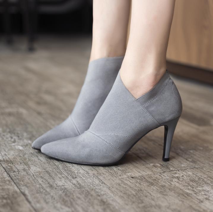 Heißer Verkauf Spitz High Heels Frauen Schuhe Herbst Und Winter Lässig Ausgestattet Weibliche Einzelne Mode Outwear Schuh