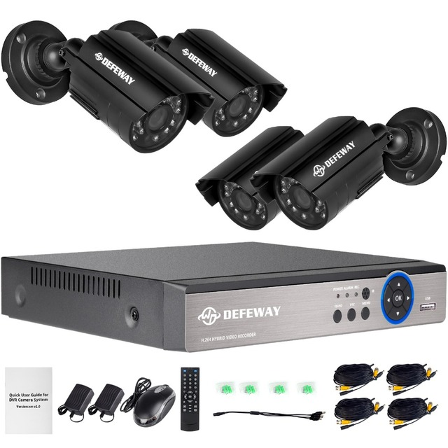 DEFEWAY  4CH 1080P Output Onvif DVR Waterproof 1200TVL Night Vision Camera CCTV System Surveillance Kits With 4 720P Cameras