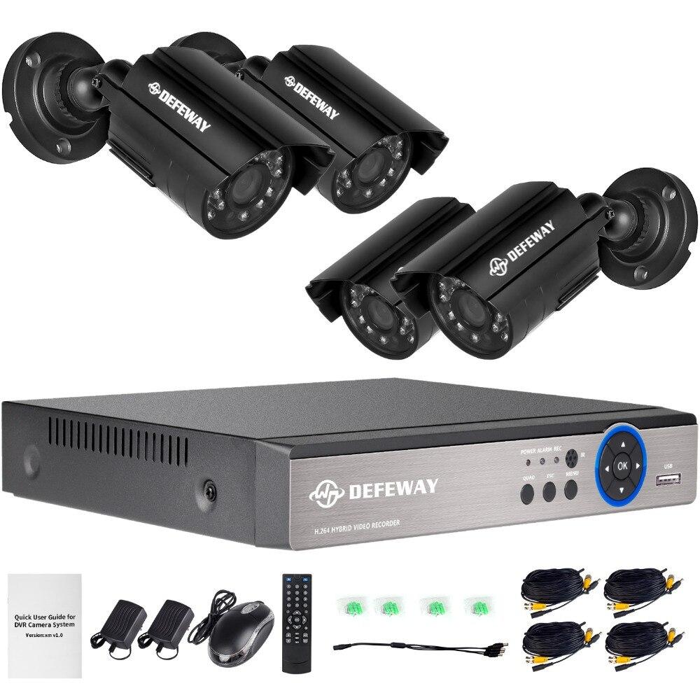 DEFEWAY P 4CH 1080 p выход Onvif DVR водостойкая 1200TVL камера ночного видения Система видеонаблюдения Комплекты с P 4 720 p камера s