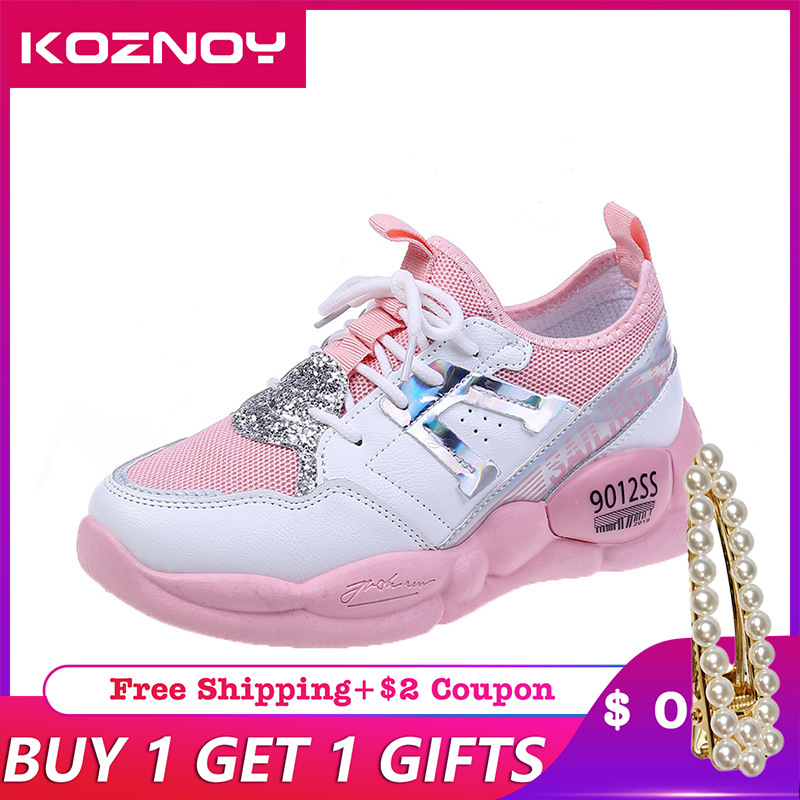 Koznoy Sneakers Women Student Summer Breathable Dropshipping Mesh Thick Bottom Fashion Leisure Muffin