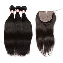 3 Human Hair Bundles With Silk Base Closure Brazilian Straight Hair Weave Bundles With Closure 4×4 Part Honey Queen Hair Remy