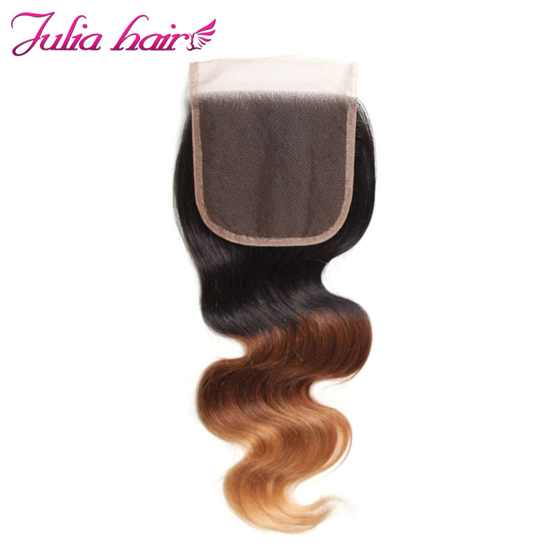 Ali Julia Brazilian Ombre Body Wave Closure 100 Human Hair Free Part 4 4 Inches Swiss