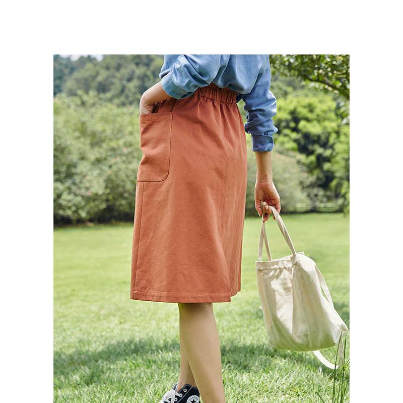 INMAN wiosna jesień bawełna wysoki elastyczny pas pasuje do wszystkiego szczupła moda spódnica kobiet linii
