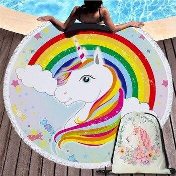 Cartoon Unicorn 150cm Round Beach Towel Wall Tapestry Picnic Blanket Portable Outdoor Sport Storage Bag Bundle Pocket Kids Gift 19