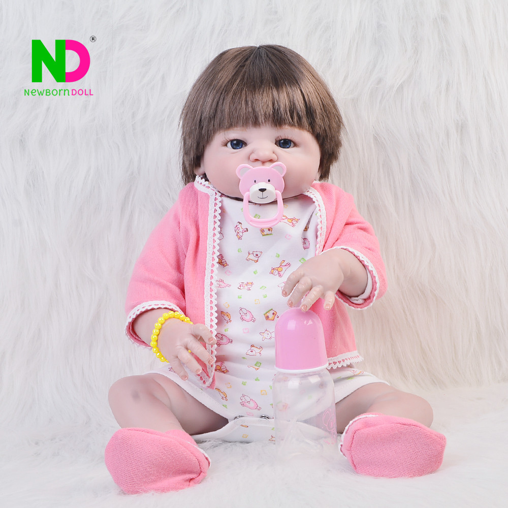 New Arrival Dolls Reborn Babies Full Silicone Vinyl Girl Baby Toy 23'' Fashion Boneca Reborn Playmates For Best Birthday Gifts fashion babies newborn 23 realistic dolls full silicone vinyl lifelike dolls reborn baby toy for girl playmate birthday gifts