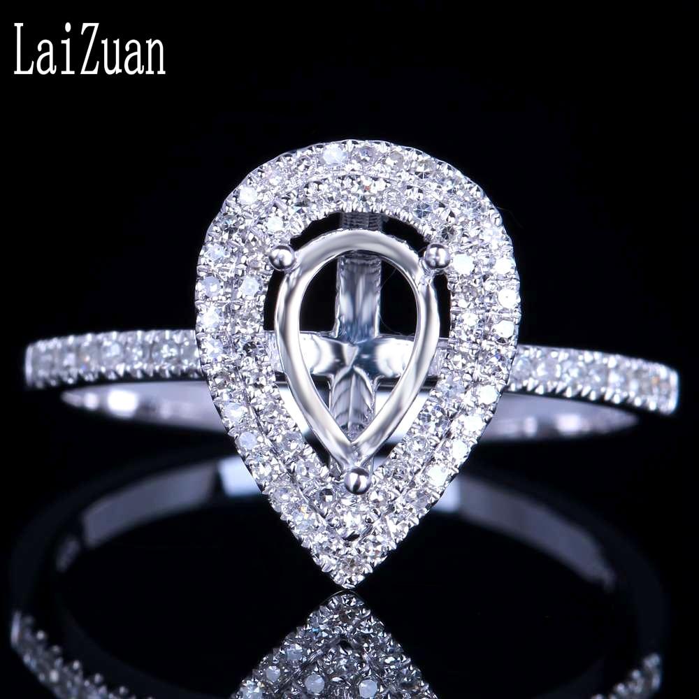 LaiZuan 7x5mm Pear Cut Solid 10k White Gold Natural Diamond Engagement Wedding Women Trendy Fine Jewelry Semi Mount Ring Setting