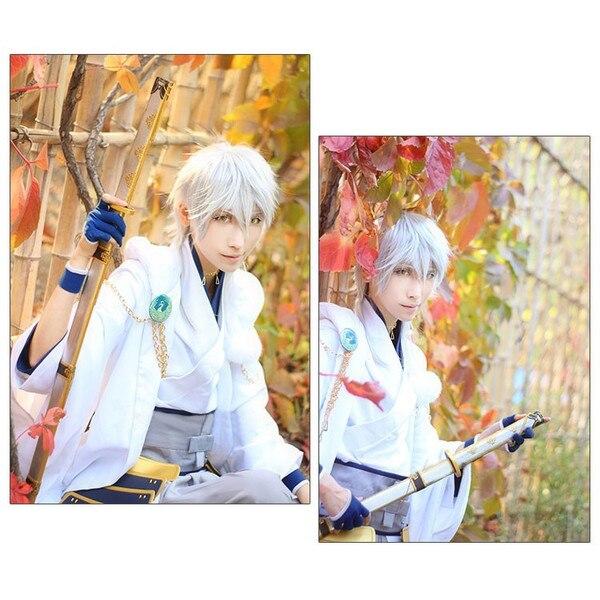 Ranbu Online Tsurumaru Kuninaga Cosplay Touken White Samurai Polyester Costume Japanese  ...