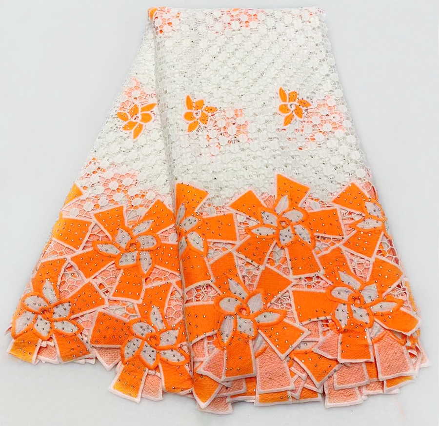 Latest Swiss Voile Lace African Guipure Lace Fabric Nigerian French Cord Lace Fabric Embroidered Net Laces In orangeLatest Swiss Voile Lace African Guipure Lace Fabric Nigerian French Cord Lace Fabric Embroidered Net Laces In orange