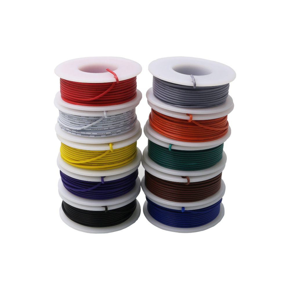 10M Stranded Wire of 26AWG 10 Colors <font><b>UL1007</b></font> Environmental Electronic Wire Conductor To Internal Wiring DIY image
