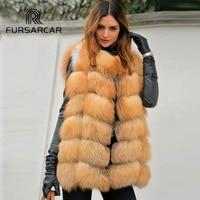 FURSARCAR 2018 Winter Women's Real Fox Fur Vest 75 cm Length New Fashion Thick Gold Fox Fur Gilet Square Style Fur Vest