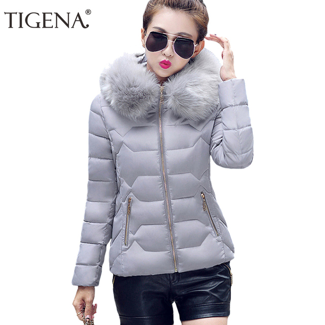 TIGENA Winter Parka Women 2017 Thick Warm Hooded Women's Winter Jacket And Coat Female Outwear Lady Pink Black Gray Blue