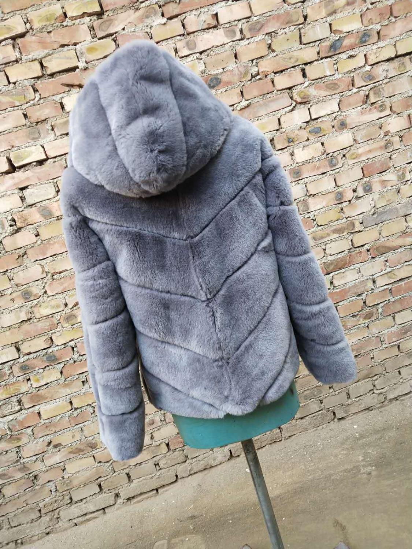 Short Light Grey Diagonal Stripes Rex-Fur Hooded Coat Jacket  Black Real Fur Coat Top Overcoat Blazer Custom Hoodie Warm Jackets