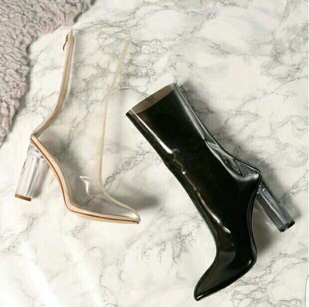 Zapatos موهير ربيع الخريف أحذية عالية الكعب مع تفاصيل السيدات واشار تو الكعوب منتصف العجل واضح البرسبيكس شفاف الأحذية الأحذية-في أحذية نسائية من أحذية على  مجموعة 2