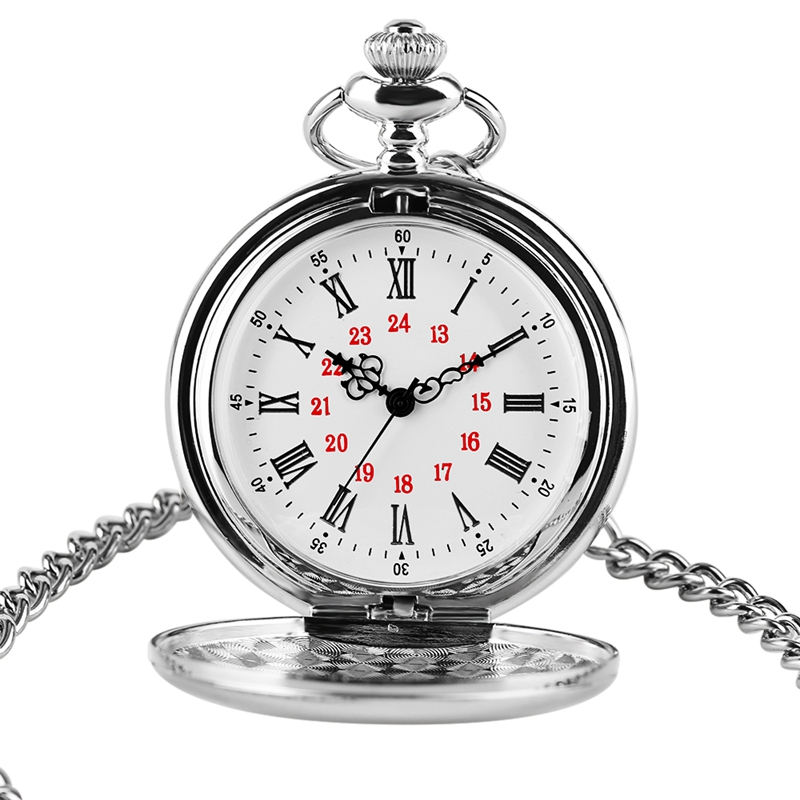 New Fashion Smooth Silver Metal Pocket Watch Quartz Watch Colar Round Dial Analog 30cm Chain Gifts Watch Masculino Drop Shipping