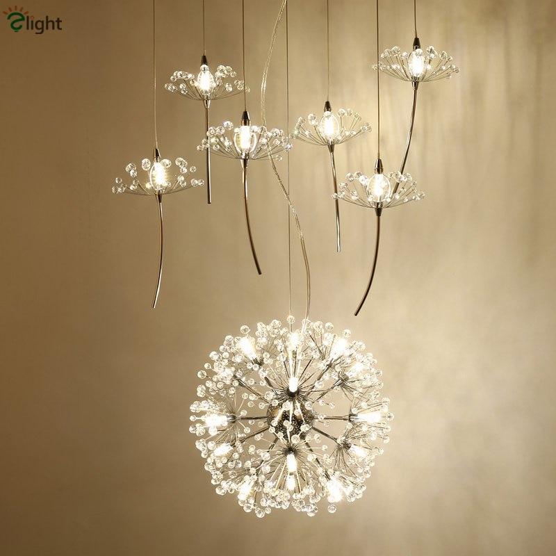 Nordic Design Plate Metal Dandelion Chrome Led Pendant Light Indoor Fixture G4 Suspension Light Modern Lustre Luminaire Lamp