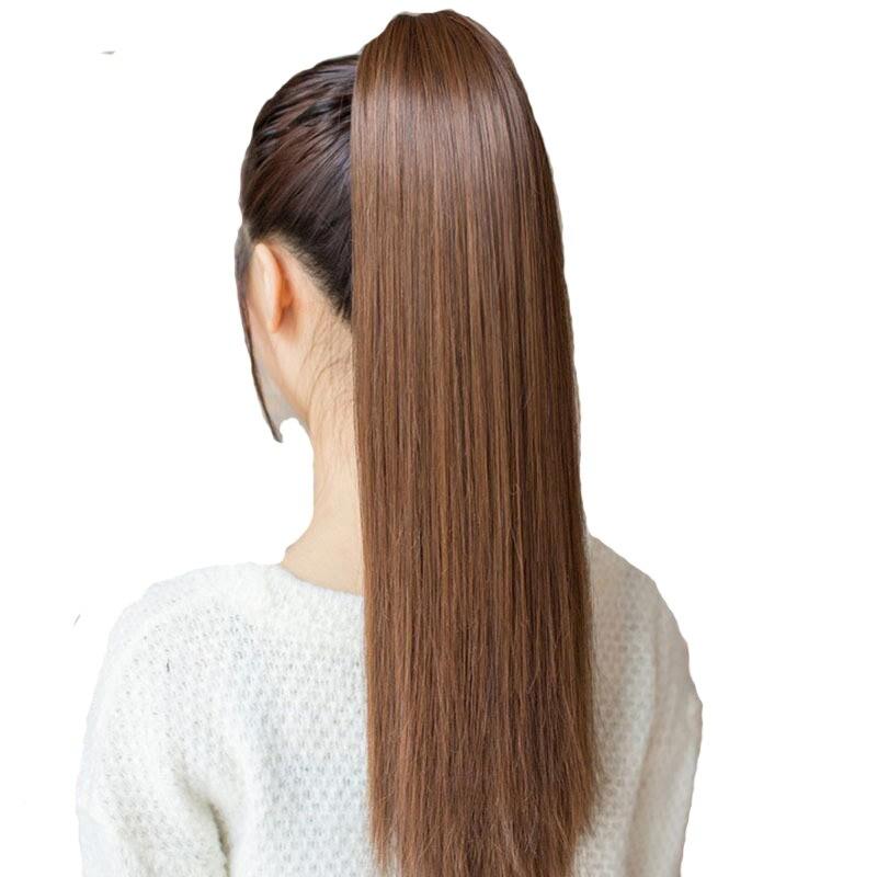 Feibin Krawatte auf Pferdeschwanz Haarverlängerung Schwanz Haarteil Lange Gerade Synthetische B43