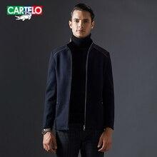 Cartelo бренд 2016 новый сращивание воротник кашемир мужчины шерстяной жакет смеси зимняя мода бизнес пальто kfjsjk001