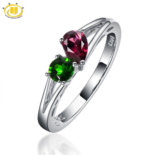 "Hutang ""You and Me"" Natural Gemstone Ring Garnet & Chrome Diopside Solid 925 Sterling Silver Fine Jewelry For Mom's Girlfriend"
