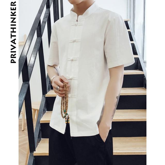 8520e68a91409a Sinicism Sklep Mężczyźni Odzież Koszule Męskie Regular Fit Pościel Krótkie  Rękawy Mężczyzna Chiński Styl na Co