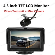 hot sell 4.3 Inch TFT LCD Monitor with Sunshade Car Rear View Backup Reverse System with Wireless Video Transmit + Mini Camera