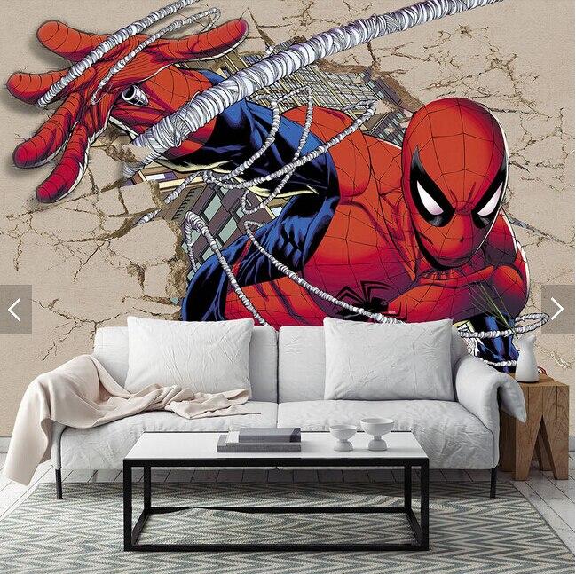 Custom Children Wallpaper,Spider Man,3D Cartoon Murals For
