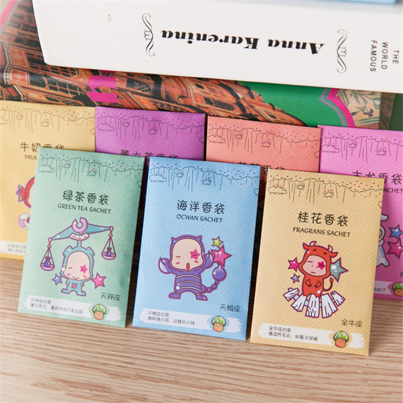 Creative 12 Constellations 12 Scents Aromatherapy Natural Smell Incense Wardrobe Sachet Air Fresh Scent Bag Paper Sachet Rose billetera sailor moon