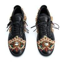 Золотой металлический декор Элитный бренд Мужская обувь со шнуровкой спереди и боковой молнии мужские кроссовки 9908 Блеск Кристалл Перл уют