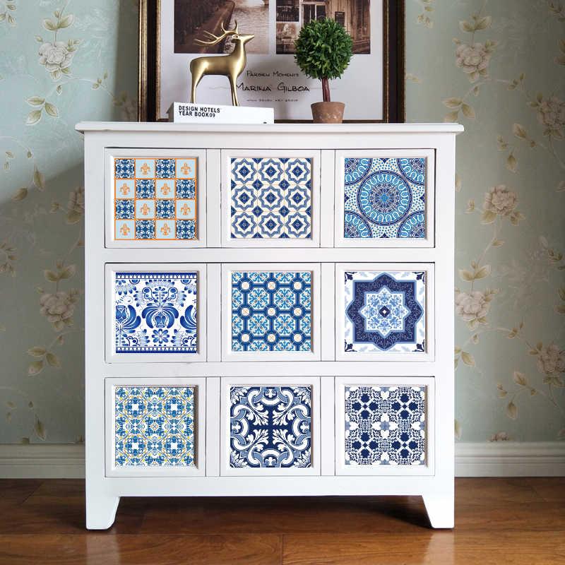 Funlife CUSTOM10/15/20/25/30 Cm Perekat Biru & Putih Ubin Stiker dapur Kamar Mandi Furniture Pack 10