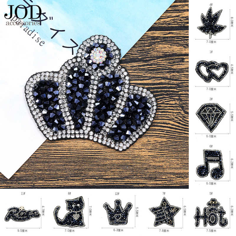 JOD Black Diamond iron on Rhinestone patches for clothing embroidery patch  applique DIY stickers clothes decoration 8cdafdb7c1dc