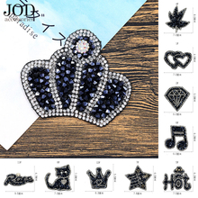 JOD Rhinestone Cloth Stickers Black Diamond Personalized Iron on Patches Clothes Jacket T-shirt Applique Trumpet Ironing