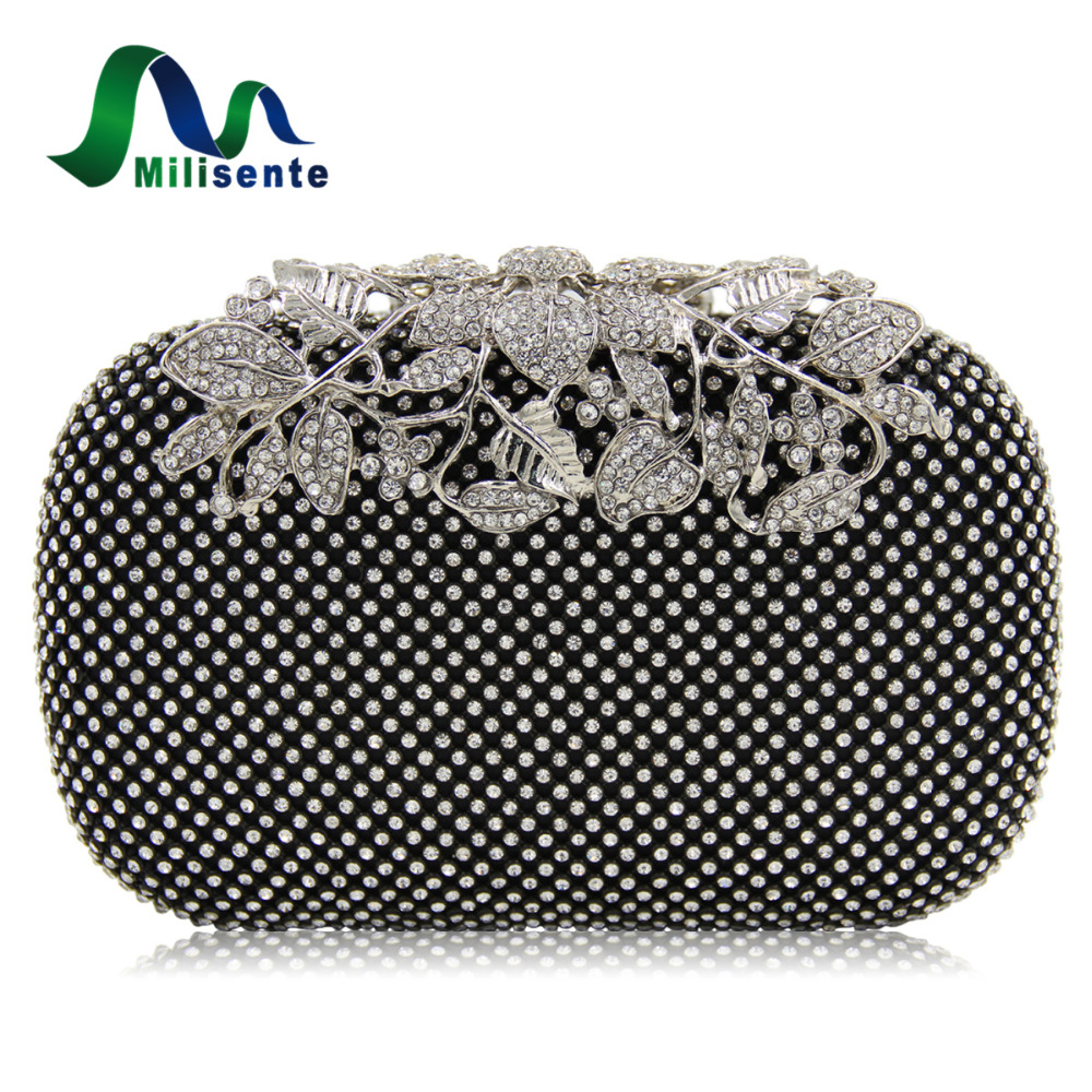 Milisente Women Rhinestone Handbag Studded Flower Evening Diamond Bags Lady Wedding Party Clutches Purse Silver Gold Black Small 2017 lady hot sale black gold white silver clutch women elegant v diamond design wedding handbag female party bag evening bags