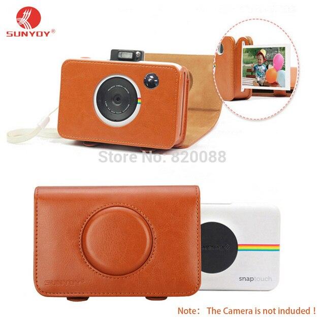 Sunyoy винтаж браун pu кожаный чехол сумка для polaroid оснастки касание мгновенный печати цифровая камера, бесплатная доставка