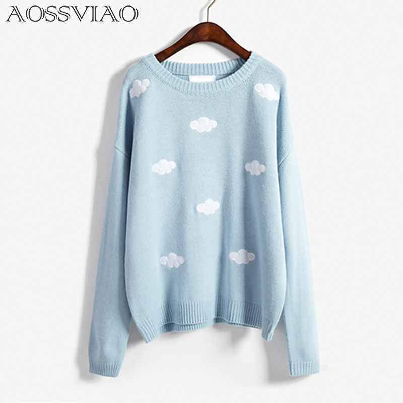 AOSSVIAO Embroidered Flowers Long Sleeves Fashion Cute Knitted Thin 2019 Autumn Winter Women Pullovers Quality Brand Sweaters