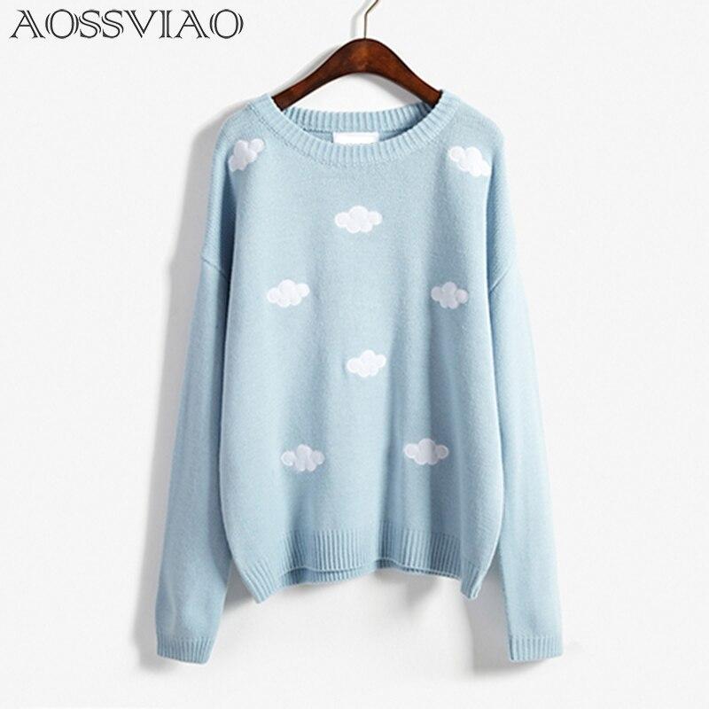 Aossviao bordados flores mangas compridas moda bonito malha fina 2019 outono inverno mulheres pullovers qualidade marca suéteres