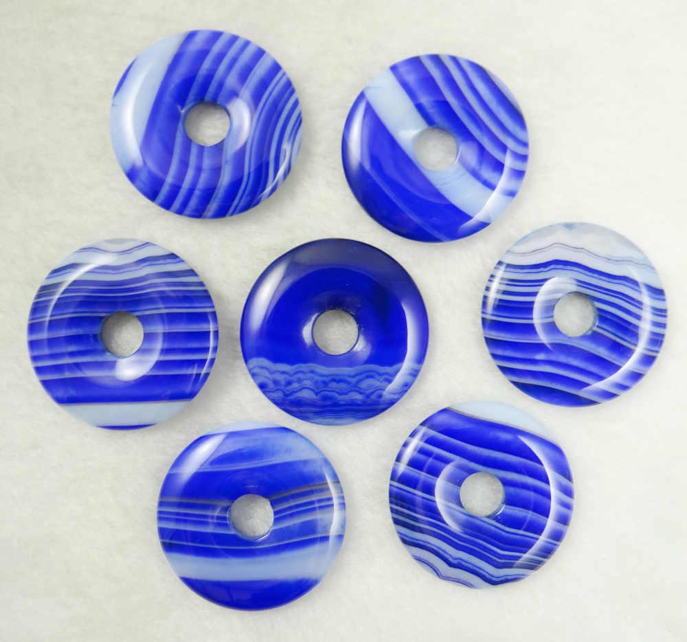 Moda de alta qualidade mix pedra natural Listrado ágatas círculo rosquinha encantos pingente 12 pçs/lote 30mm para fazer jóias por atacado t6