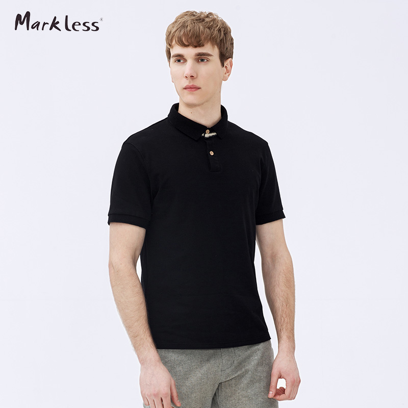 Markless Men's Classic Short Sleeve Polo Shirts Male Solid Color Polo Tee Casual Slim Paul Turn-down Collar Tops TXA6653M