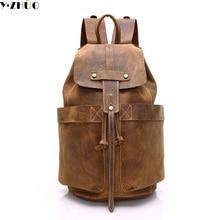 cow leather man backpack 100% genuine leather man bag high quality men shoulder duffel bag school men travel Laptop bag