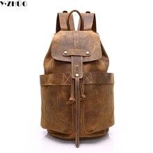 Cuero de vaca hombre mochila 100% bolsa de hombre de cuero genuino de alta calidad de los hombres de hombro bolsa de lona hombres de la escuela bolsa de Ordenador Portátil de viaje