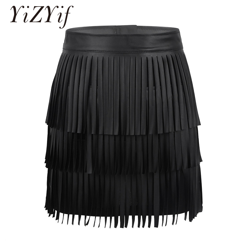 Sexy Women Tassel Mini Skirt Party Clubwear Hippie Boho PU Leather High Waist Layered Fringe Tassel Bodycon Party Mini Skirt