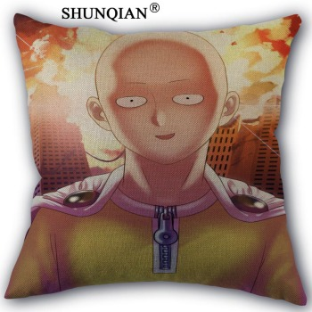 One Punch Man Linen Cotton Pillow Covers Printed Square Home Decorative No Core Pillowcase 45x45cm one side