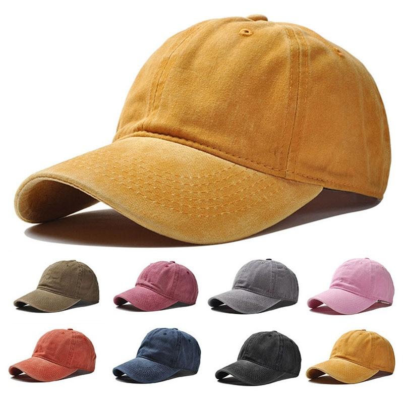 2018 Unisex Spring Summer Solid Color   Baseball     Caps   Washed Cotton Women Snapback Hats Boys Gorras Casquette Men Dad Hat Sun Hats