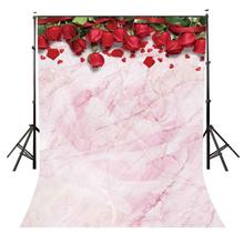 5x7ft Romantic Red Rose Backdrop Millennial Pink Photography Background Wedding Party Photo Video Studio Props
