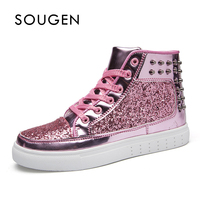 Male Shoes Adult Chaussure Homme Krasovki Men High Top Shoes Slip Shoes Sneakers Platform Men Glitter Shoes Superstar 2019