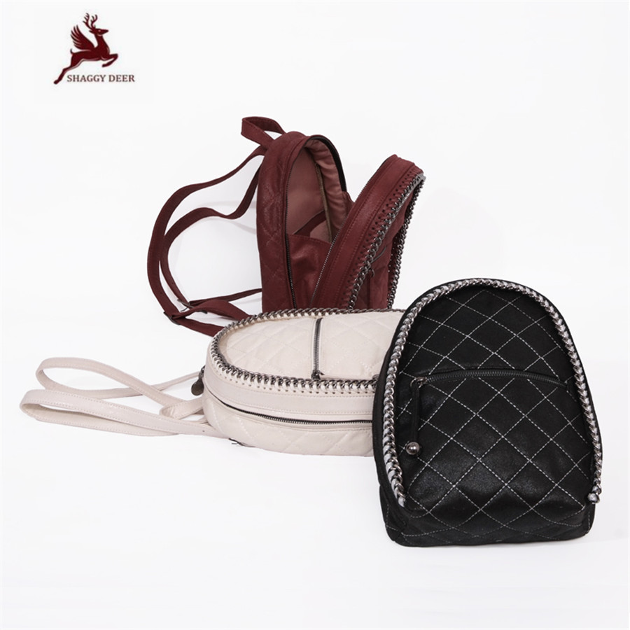Shaggy Deer Brand PVC MINI Small Luxury Lovely Chain Backpack Lady Zipper Cute Fuax Leather Bucket Backpack mini gray shaggy deer pvc quilted chain bag with cover real picture