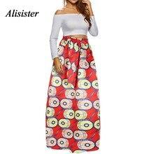 eb692bef7aca33 Vrouwen Fashion Fall Maxi Rok Elegante Bloemenprint Retro Stijl Petticoat  Losse Hoge Taille Strand Boho Afrikaanse