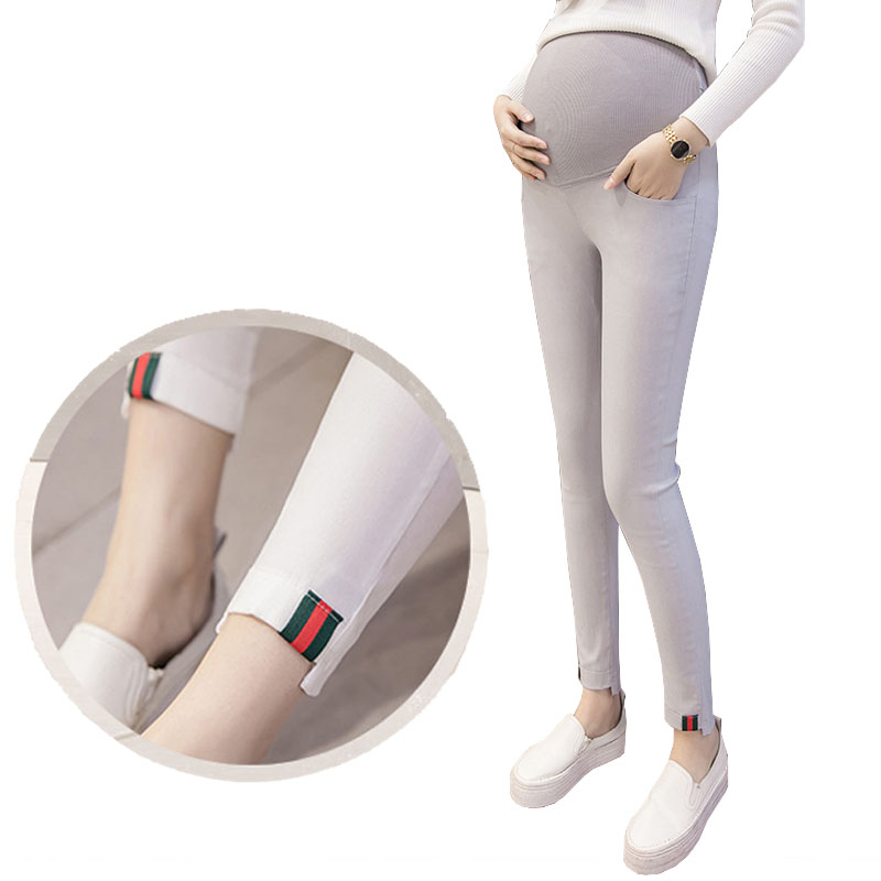 Abdominal Stretch Maternity Pants Pencil Trousers Belly Elastic Waist Maternity Leggings Pregnant Clothes For Pregnant Women cocoepps casual denim ankle length trousers large size high waist fashion women s jeans 2017 women stretch pencil pants 5xl 6xl
