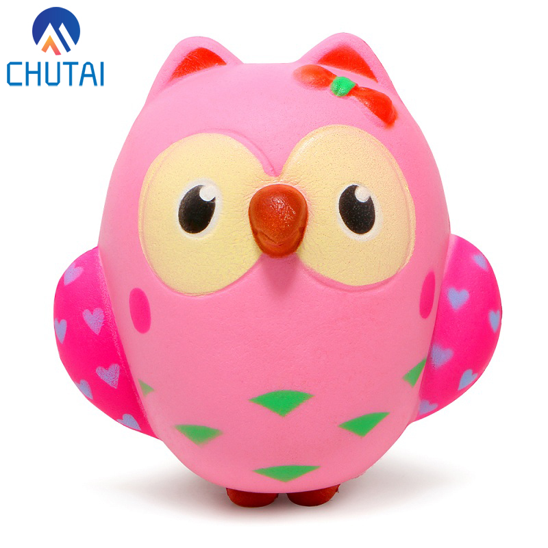 Jumbo Kawaii Owl Animal Squishy Slow Rising Squeeze Toys Phone Strap Charm Pendant Squishes Soft Scented Kid Toy Gift 13*12CM