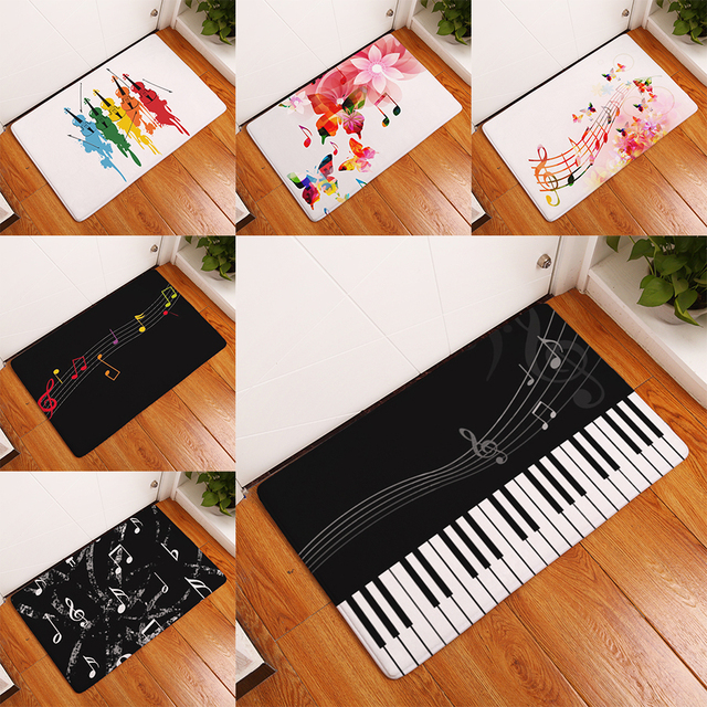 homing welcome home in front of door floor mats waterproof colored guitar beating notes pattern rugs kitchen home decor crafts