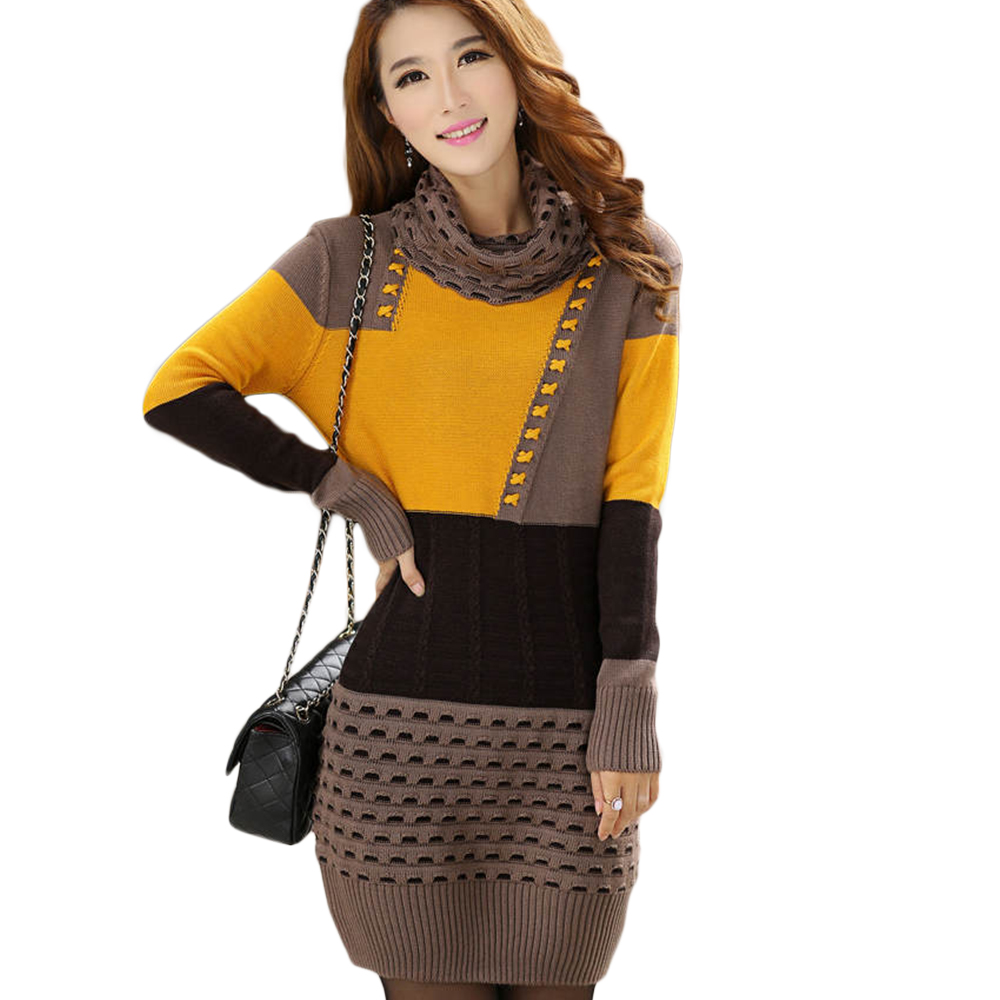 Woman Winter Dress 2017 Knitted Dress Turtleneck Long Sleeve Women ...