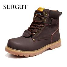 SURGUT Brand Men Winter Snow Boots Genuine Leather Boots Comfortable With Fur Plus Size Shoes High Quality Anti Slip Work Shoes